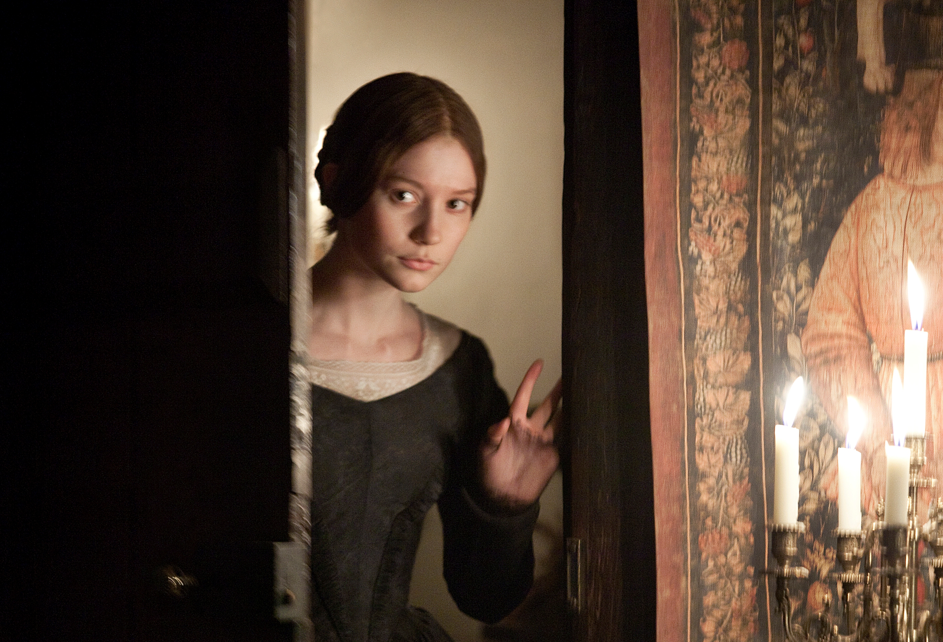 Mia Wasikowska stars as the title character of the romantic drama JANE EYRE, a 2011 Focus Features release directed by Cary Fukunaga.