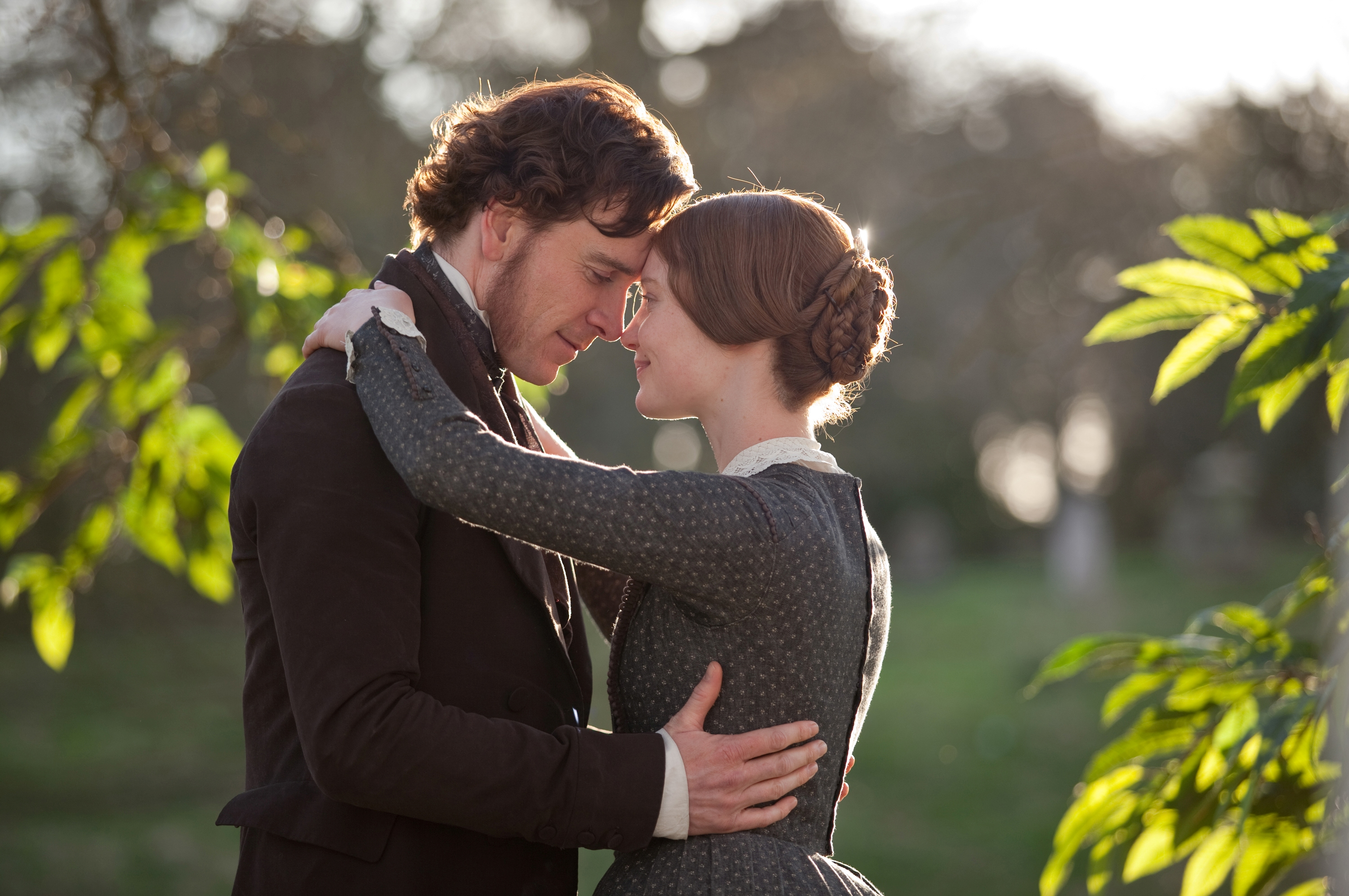 Michael Fassbender (left) and Mia Wasikowska (right) in the romantic drama JANE EYRE, a Focus Features release directed by Cary Fukunaga.  Photo Credit: Laurie Sparham